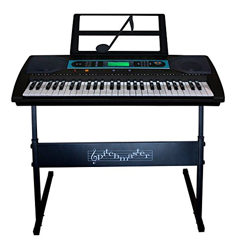 buy pitchmaster 54 key black electronic music piano keyboard with stand electric piano package. Black Bedroom Furniture Sets. Home Design Ideas