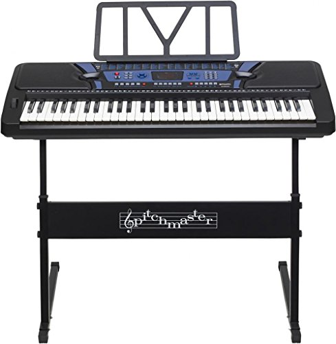 buy pitchmaster 61 key black electronic music piano keyboard with stand electric piano package. Black Bedroom Furniture Sets. Home Design Ideas
