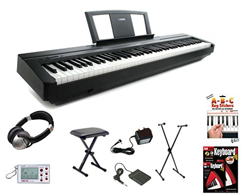 buy yamaha p45 digital 88 weighted key stage piano deluxe package p 45 p 45. Black Bedroom Furniture Sets. Home Design Ideas